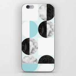 Mid Modern Moon and Sun Geometric Pattern - blue iPhone Skin