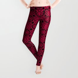 Red Lace on black . Leggings
