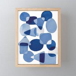 Blue Watercolour Geometric Framed Mini Art Print