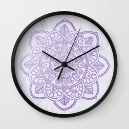 Lavender Mandala on White Marble Wall Clock