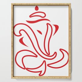 Red Line Art Lord Ganesha Serving Tray