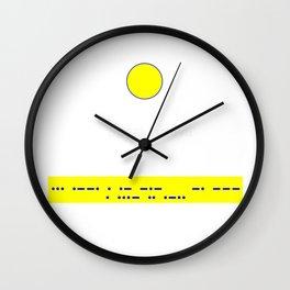 Speak No Evil: Blue Morse Code Yellow Banner Wall Clock