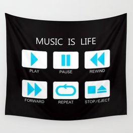 Blue Light Music Button Wall Tapestry