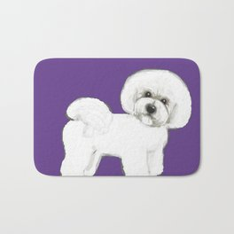 Bichon Frise dog on Ultraviolet, 2018 Bichon , Year of the dog, Pantone Ultraviolet Bath Mat