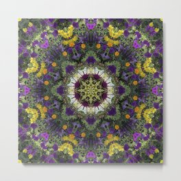 Summer Floral Jewels Kaleidoscope Metal Print