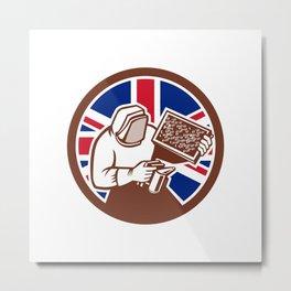 British Beekeeper Union Jack Flag Icon Metal Print