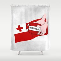 rugby Shower Curtains featuring Tonga Rugby Flag by mailboxdisco