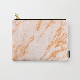 Gold Marble - Intense Rose Gold Glitter Metallic Marble Carry-All Pouch