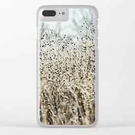 Aqua Wild meadow grass in winter Clear iPhone Case