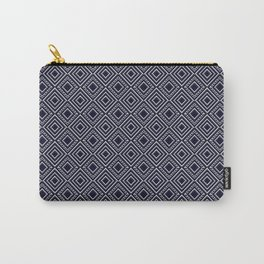 Diamonds and Dots in Chrome on Blue Carry-All Pouch