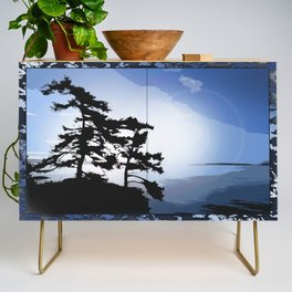 TWO WINDSWEPT DOUGLAS FIR ON THE SHORELINE Credenza