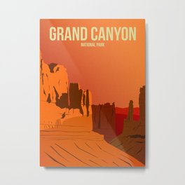 Grand Canyon National Park - Travel Poster -  Minimalist Art Print Metal Print