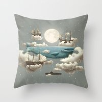 sea horse Throw Pillows featuring Ocean Meets Sky by Terry Fan