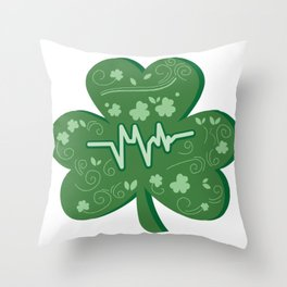 Shamrock Nurse St Patricks Day Gift Throw Pillow