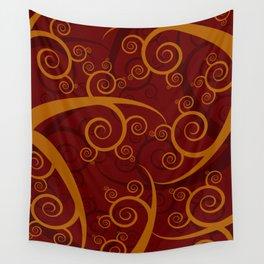 Red Swirl Pattern Wall Tapestry