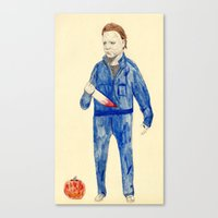 michael myers Canvas Prints featuring Michael Myers by withapencilinhand