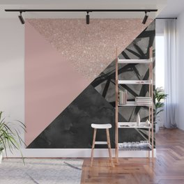 Modern pastel pink black strokes watercolor color block Wall Mural