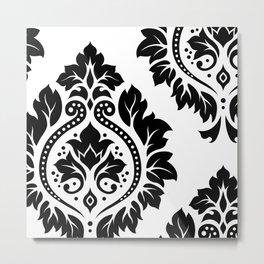 Decorative Damask Art I Black on White Metal Print