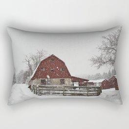 My Little Red Barn Winter Landscape Rectangular Pillow