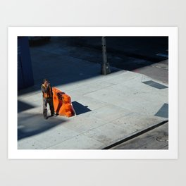 Smoking Construction Worker Art Print