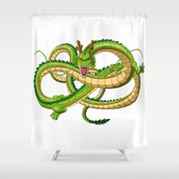 dragon ball z Shower Curtains featuring Shenron Dragon ball by OverClocked