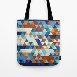 Geometric Triangle Blue, Brown  - Ethnic Inspired Pattern Tote Bag