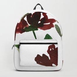 Burgundy Watercolor Carnations Backpack