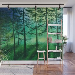 Green foggy forest illustration Wall Mural