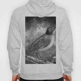 Watercolor Bird with a Berry (Black and White) Hoody