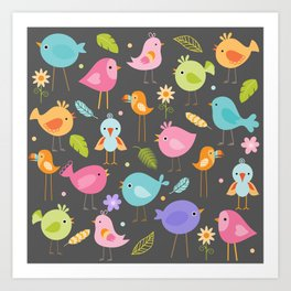 Birds - Gray Art Print