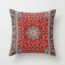 Fine Silk & Wool Isfahan Persian Rug Print Throw Pillow