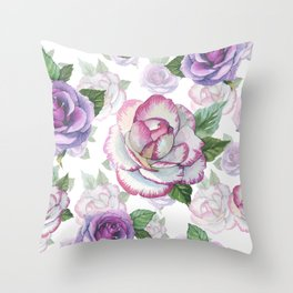 Hand painted lavender purple watercolor roses flowers Throw Pillow