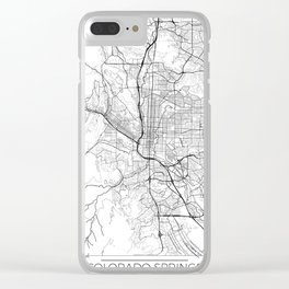 Colorado Springs Map White Clear iPhone Case
