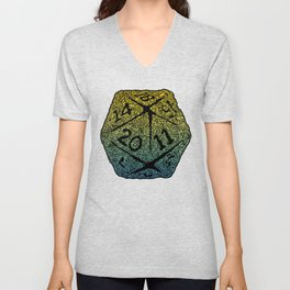 d20 dice pattern - yellow and blue gradient over black - icosahedron Unisex V-Neck