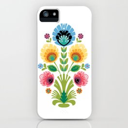 Polish Folk Flowers Pink and Yellow iPhone Case