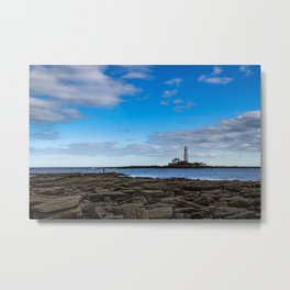 The fisherman and the lighthouse. Metal Print