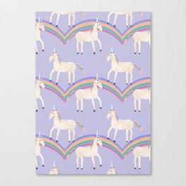 Unicorn Pattern on Pastel Purple Canvas Print