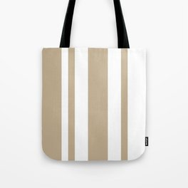 Mixed Vertical Stripes - White and Khaki Brown Tote Bag