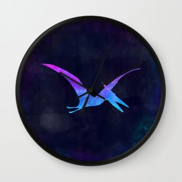 PTERODACTYL IN SPACE // Dinosaur Graphic Art // Watercolor Canvas Painting // Modern Minimal Cute Wall Clock