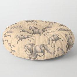 Galloping Spanish Horses Floor Pillow