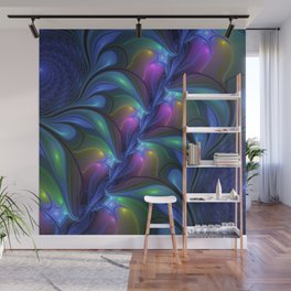 Colorful Luminous Abstract Blue Pink Green Fractal Wall Mural