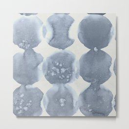 Shibori Wabi Sabi Indigo Blue on Lunar Gray Metal Print