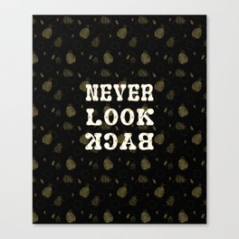 Gold Summer NEVER LOOK BACK typography Canvas Print