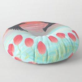crows, tulips, & snails Floor Pillow