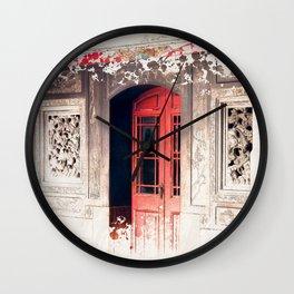 Door at Longshan Temple Wall Clock