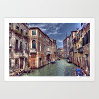 Boats & Gondola down a street canal off the Grand Canal in Venice, Italy Art Print
