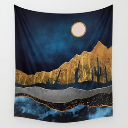 Midnight Desert Moon Wall Tapestry