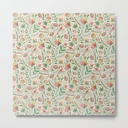 Swedish Floral - Cream Metal Print