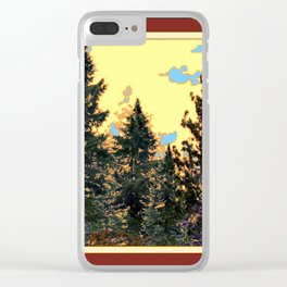 SUNNY DAY PINE TREES FOREST BROWN ART Clear iPhone Case