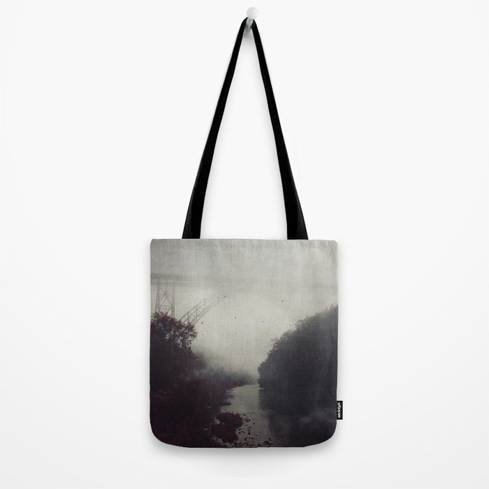 Bridge and River in Fog Tote Bag